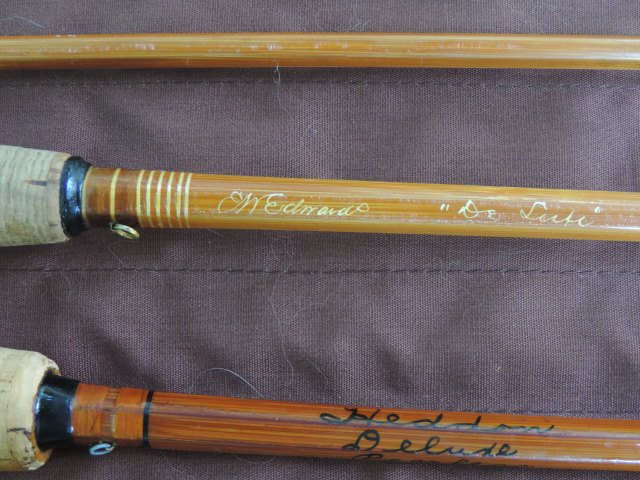 "2 bamboo. My E.W. Edwards ""Deluxe"" and the Heddon 35 Peerless (a.k.a. the Founders' Rod)..."