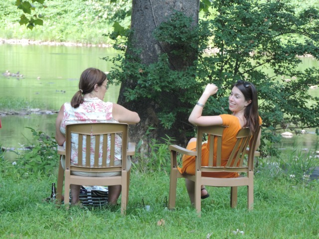 Leighanne & Alyssa enjoying cold ones at the mouth of Slate Run, former mill site of Jacob Tome, ca. 1791....