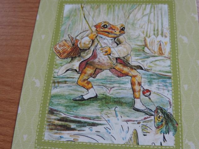 holiday postcard from Alyssa,  Jeremy Fisher's big surprise (Beatrix Potter)