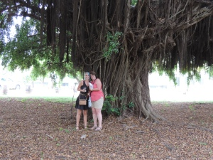 A. & L. underneath the ficus tree