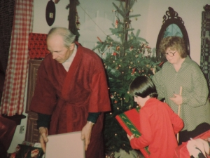 Christmas Eve, 1991, w/ my parents Ilse and Walter D. Franklin, and my son Brent, age 6.